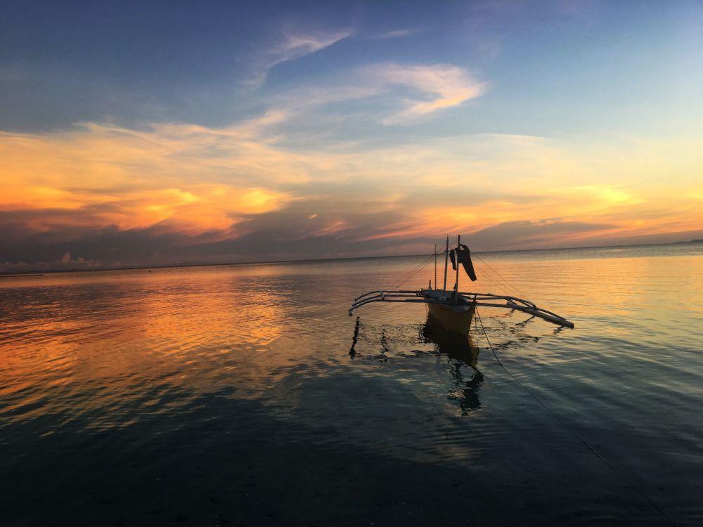 philippines coucher de soleil bateau