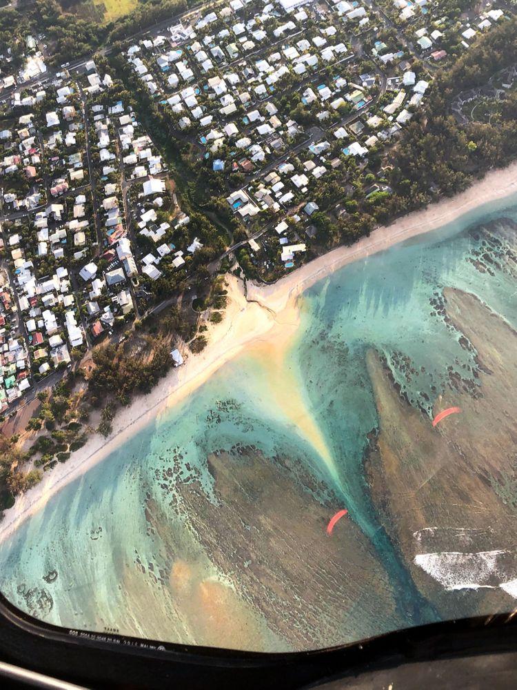 littoral vue hélicoptère mer ile de la réunion